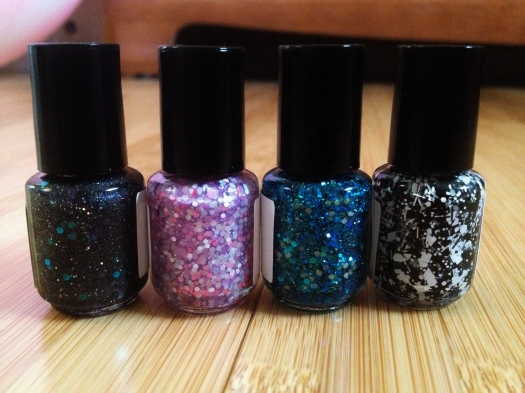 Here's another shot of them from the back in the same order so you can see how gorgeous and glittery they are!