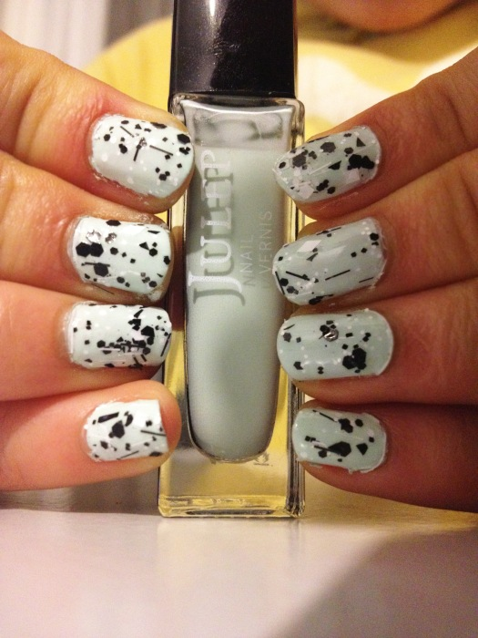"Nails using Glitzology ""Cruella"" and Juelp ""Susie"""