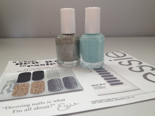 Essie Beyond Cozy, Essie Mint Candy Apple, and Essie Sleek Sticks sample
