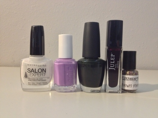 Maybelline Unbreakable White, Essie Play Date, OPI Here Today Aragon Tomorrow, Julep Viola, and Glitzology Crown Royal.
