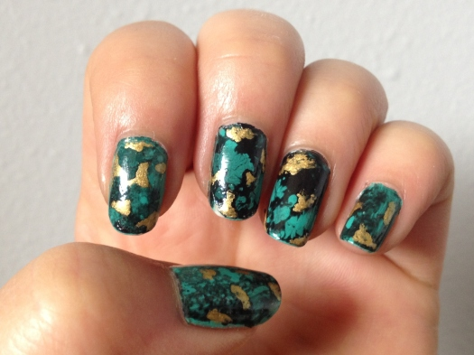 Et voila! Gold flecked turquoise water spotted nails.