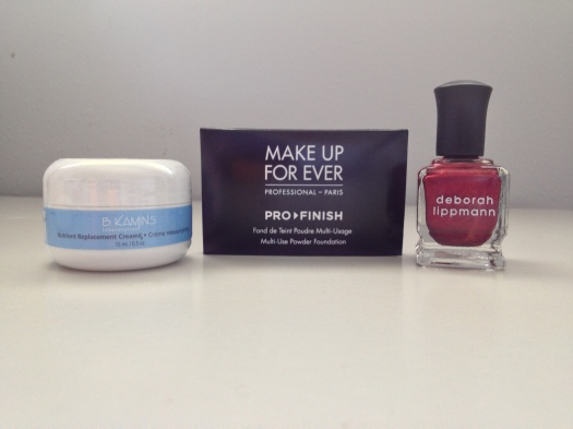 B Kamins Nutrient Replacement Cream -15mL (), Make Up For Ever Pro Finish Multi-Use Powder Foundation - 1g (), Deborah Lippmann Since I Fell For You - 15mL ($20)
