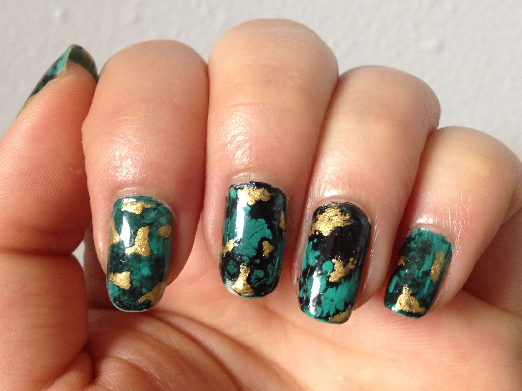 Water Nail Art: NOTD: Gold Flecked Turquoise Water Spotted Nails & Nail