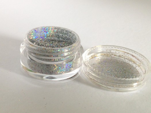 The holo silver glitter comes in a little pot