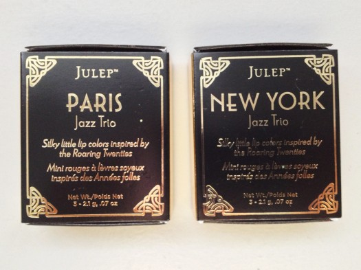 This months box also included Julep's new lip trios and included both sets, Paris and New York