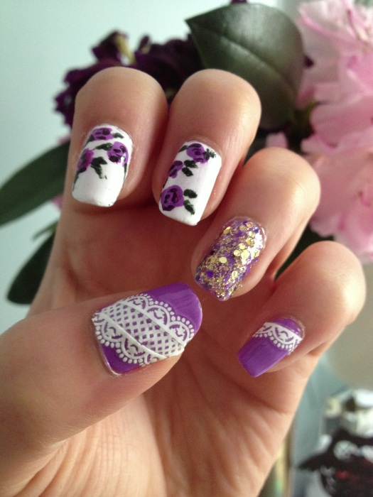 purple floral nails inside