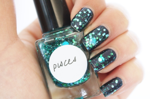 Pisces is a beautiful blend of emerald, sky blue, and ocean blue holographic glitter in a clear base